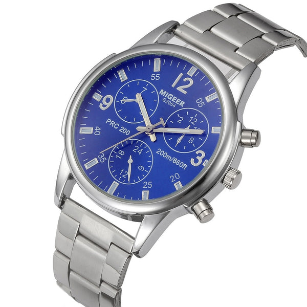 Men Crystal Stainless Steel Analog Quartz Wrist Watch