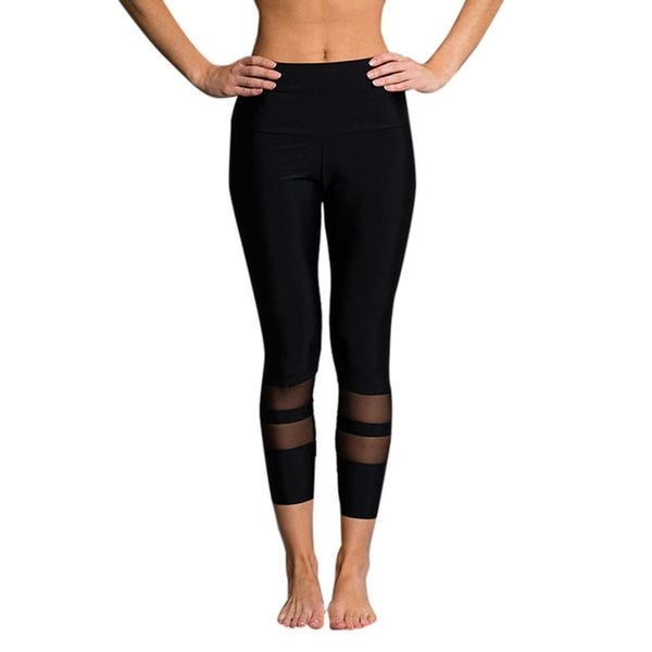 Sexy Mesh Patchwork Yoga and Fitness Pants Women Plus size