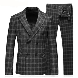 Black Double Breasted Suit Men Custom Made Plaid Slim Fit