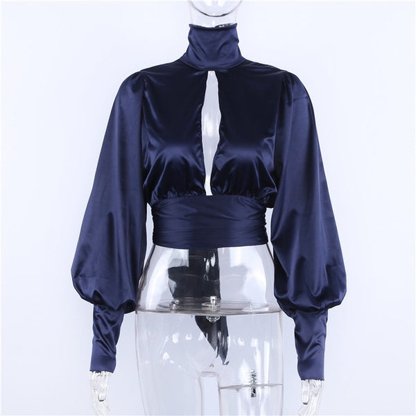 Sexy Backless Tutleneck tiered Ladies Long Sleeve blouse Hollow Out