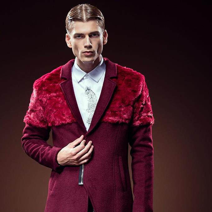 New fashion casual Men fur stitching wine red coat