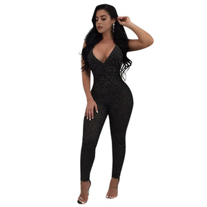 V Neck Sequin Women Sexy Lace up  Sleeveless Jumpsuit