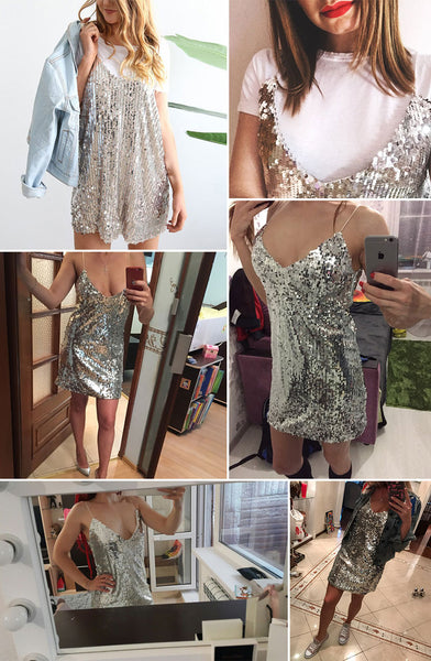 Deep V Neck Silver Sequined Backless Dress