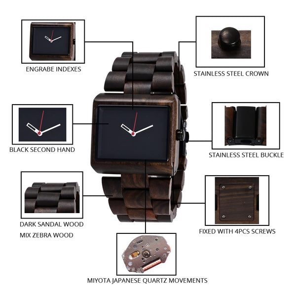 Handmade Wooden Vintage Quartz Wristwatches Luxury Fashion Men