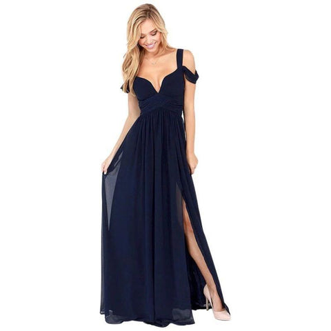 Split V-neck Spaghetti Straps Female Gown Dresses