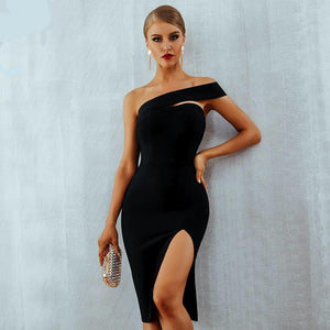 Women Sexy  One Shoulder  Party Dresses