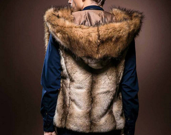 Faux Fur Men's Vest Hooded