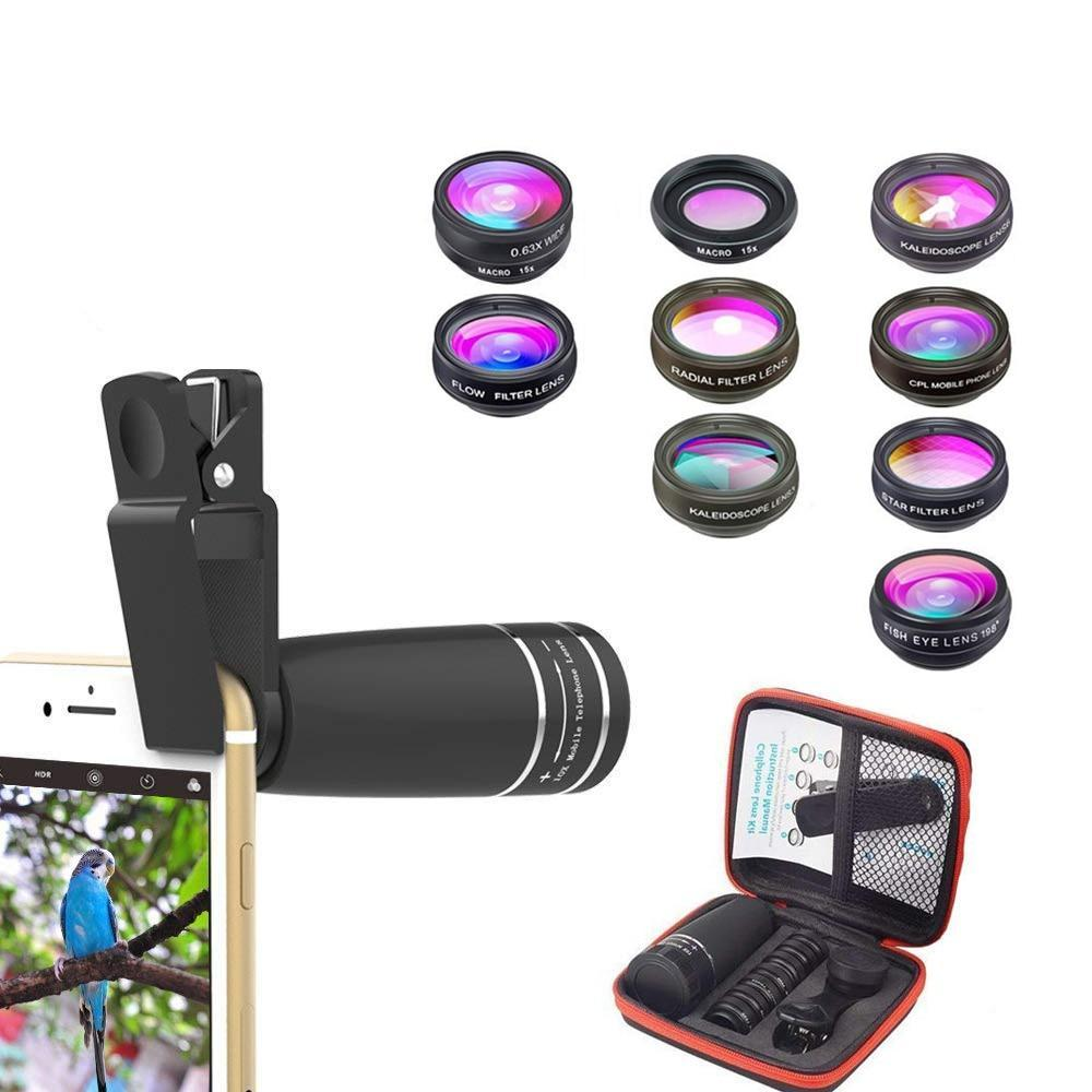 10 in 1  Mobile phone Lens Telephoto Fisheye lens Wide Angle Macro Lens+CPL/Flow/Radial/Star Filter for all smartphones