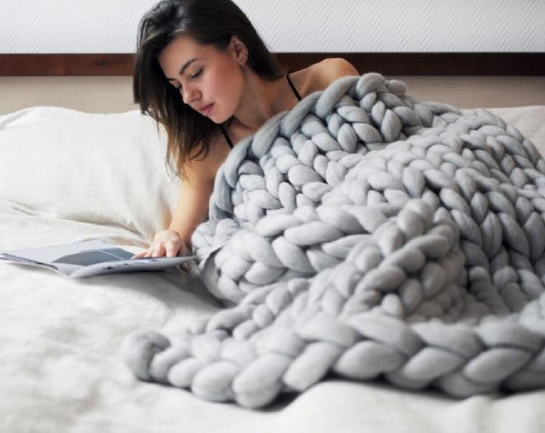 Thick Line Hand-woven Blanket Adult Children Wool Blanket Coarse Wool Needle Knitting Blanket