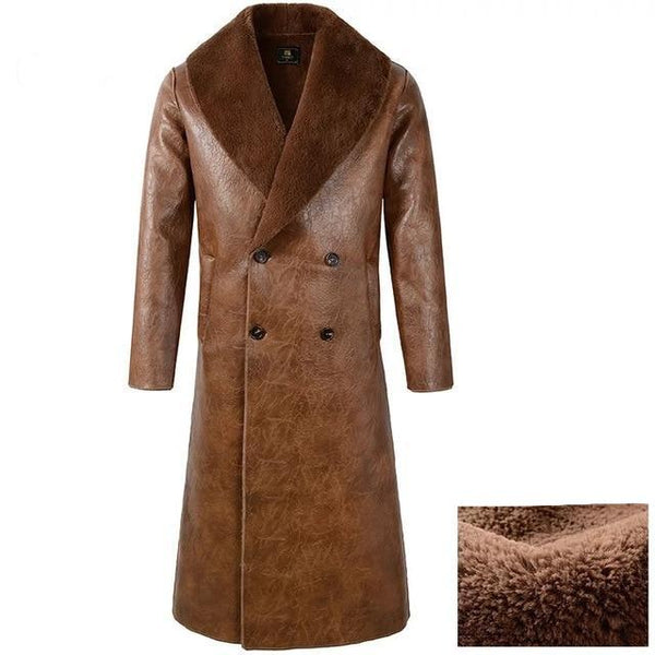 Men's slim winter Fur leather Coat