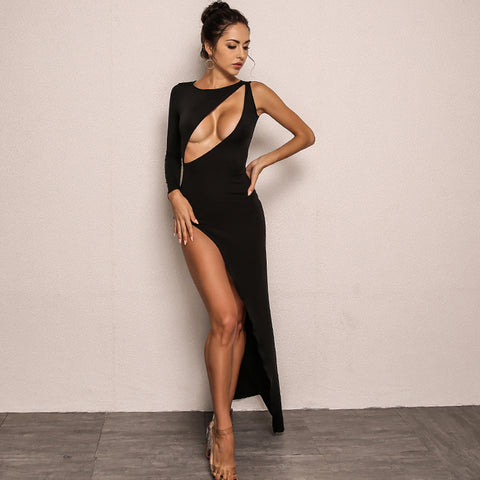 Women High Split One Shoulder Dresses