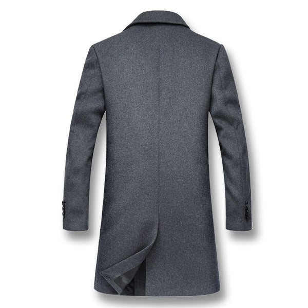 Wool Coats Male Fashion Slim Fit Double Breasted