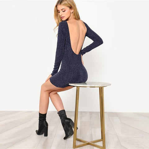 Navy Solid Backless Low Back Ribbed Glitter Sexy Dress