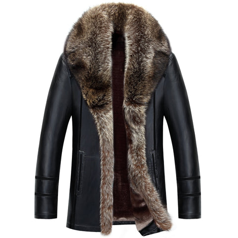 Russian Winter Raccoon Fur Collar Leather Jacket
