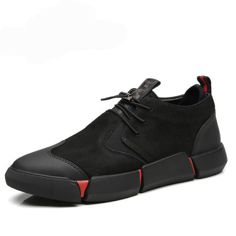 Black Men's leather casual shoes Fashion Breathable Sneakers