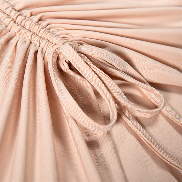 Elastic Nude Pleat Lace-up Long Sleeve Mini  Bandage Dresses
