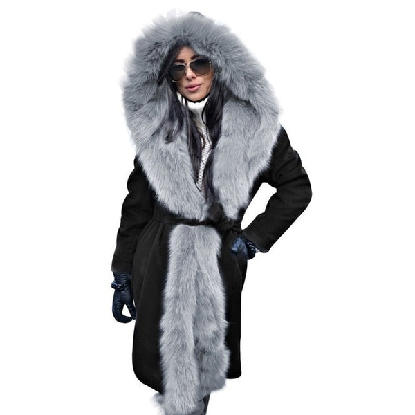 Women Fur Hooded Coat Long Parkas
