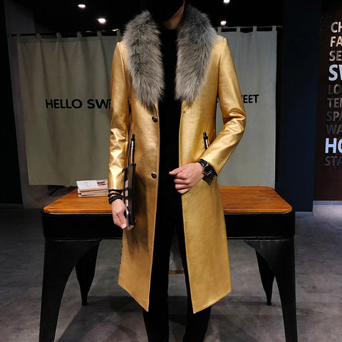 Big Fur Collar  Mens faux Leather Trench Coats