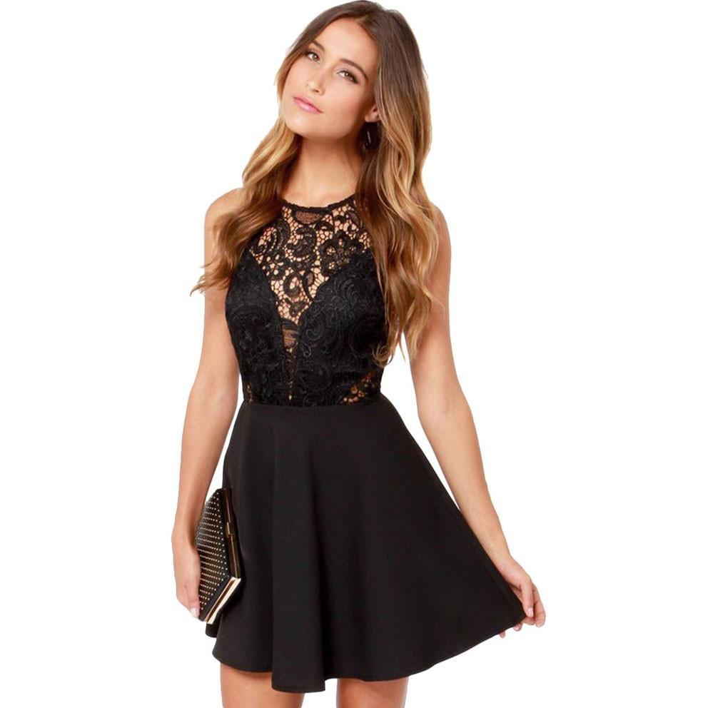 Sexy Lace Backless Cocktail  Summer Dress