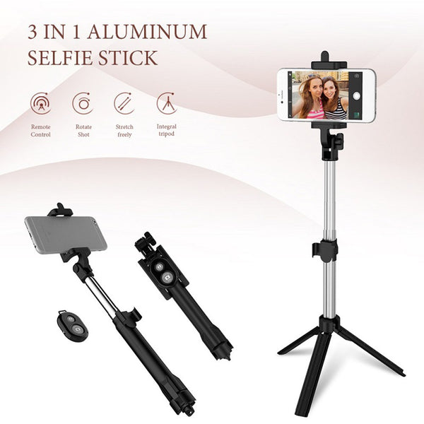 Multifunction Mini Tripod Extendable Sefie Sticks BT Remote  for iPhone Android