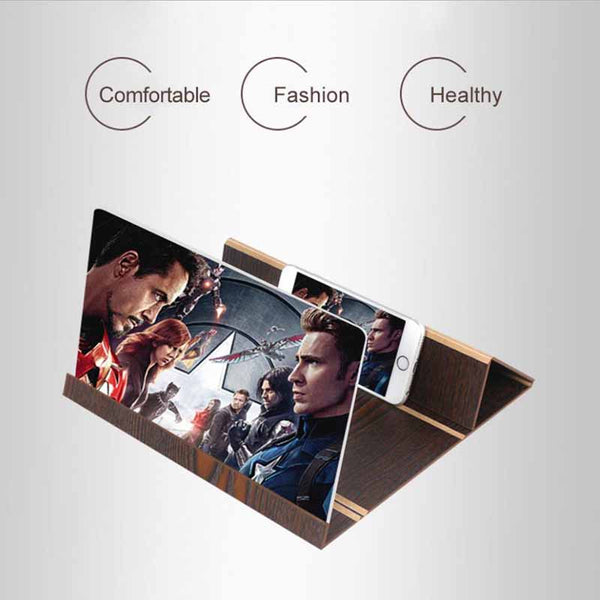 Stereoscopic Amplifying 12 Inch Desktop Wood Bracket Mobile Phone Video Screen Magnifier Amplifier Holder Mount NANO CINEMA