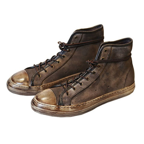 Brown High Top  Shoes Genuine  Handmade Designer