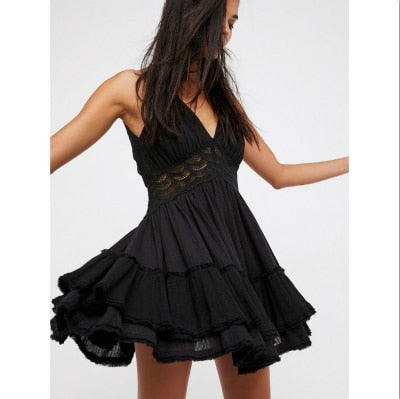 Mini V Neck Sexy Casual Sleeveless Backless Strap Ruffle