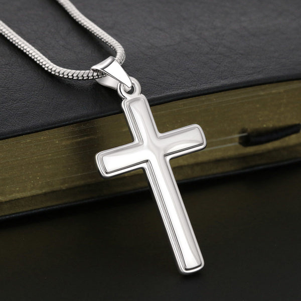 14k white gold finish Cross Necklace