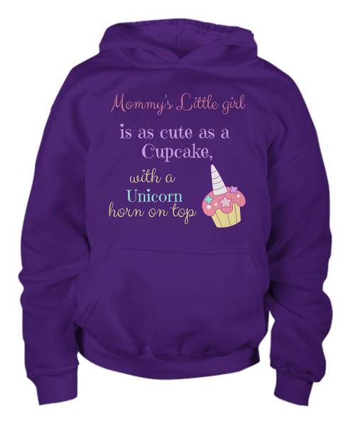 Mommy's Little girl is as cute as a Cupcake, with a Unicorn horn on top - Children's Hoodie