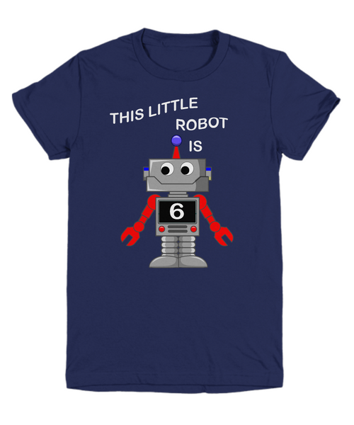 Kids 6th Birthday Boys Robot T-Shirt Science 6 Year Old