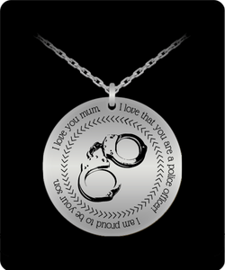 I love you mum Police Officer Stainless Steel Necklace son