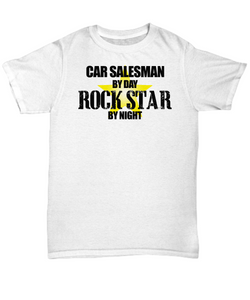 Car salesman by day rock star by night