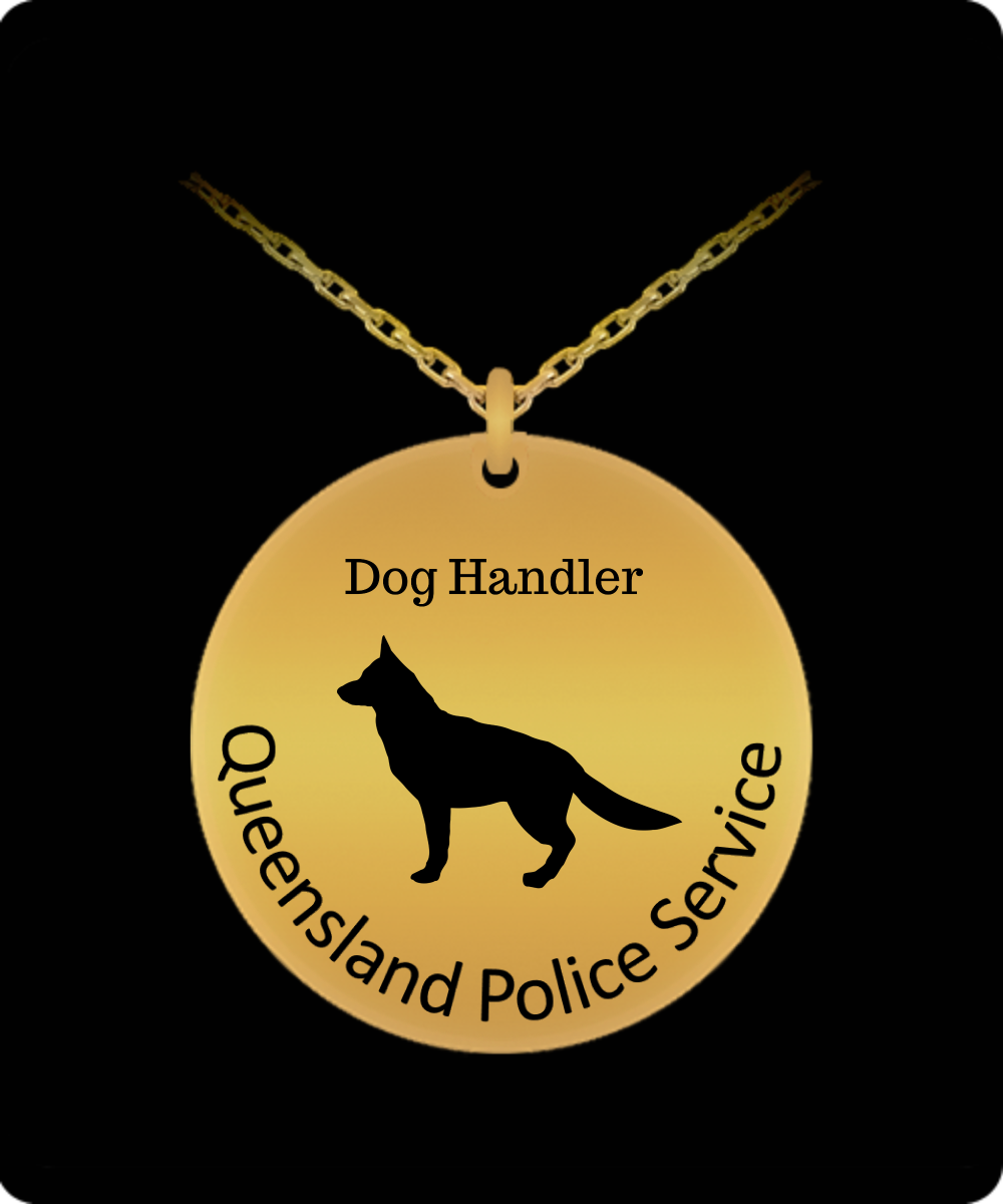 Queensland Police Service Dog Handler 18K Gold Necklace