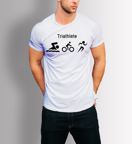 Triathlete Swim Ride Run logos t-shirt