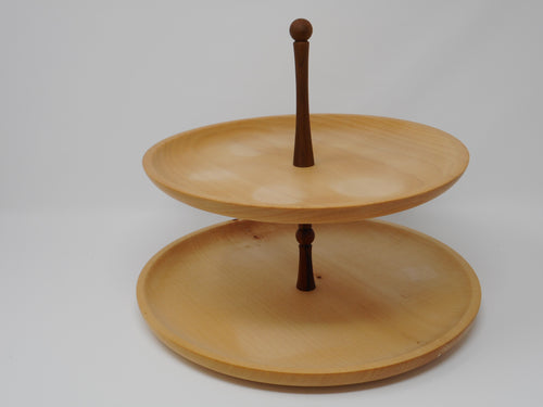 30cm Cake Stand in Sycamore & walnut
