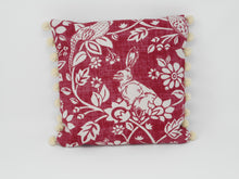 24cm x 24cm Cushion in Wine Linen print with flowers & pheasant