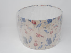 30cm Lamp Shade Pink Flamingo & Blue Heron