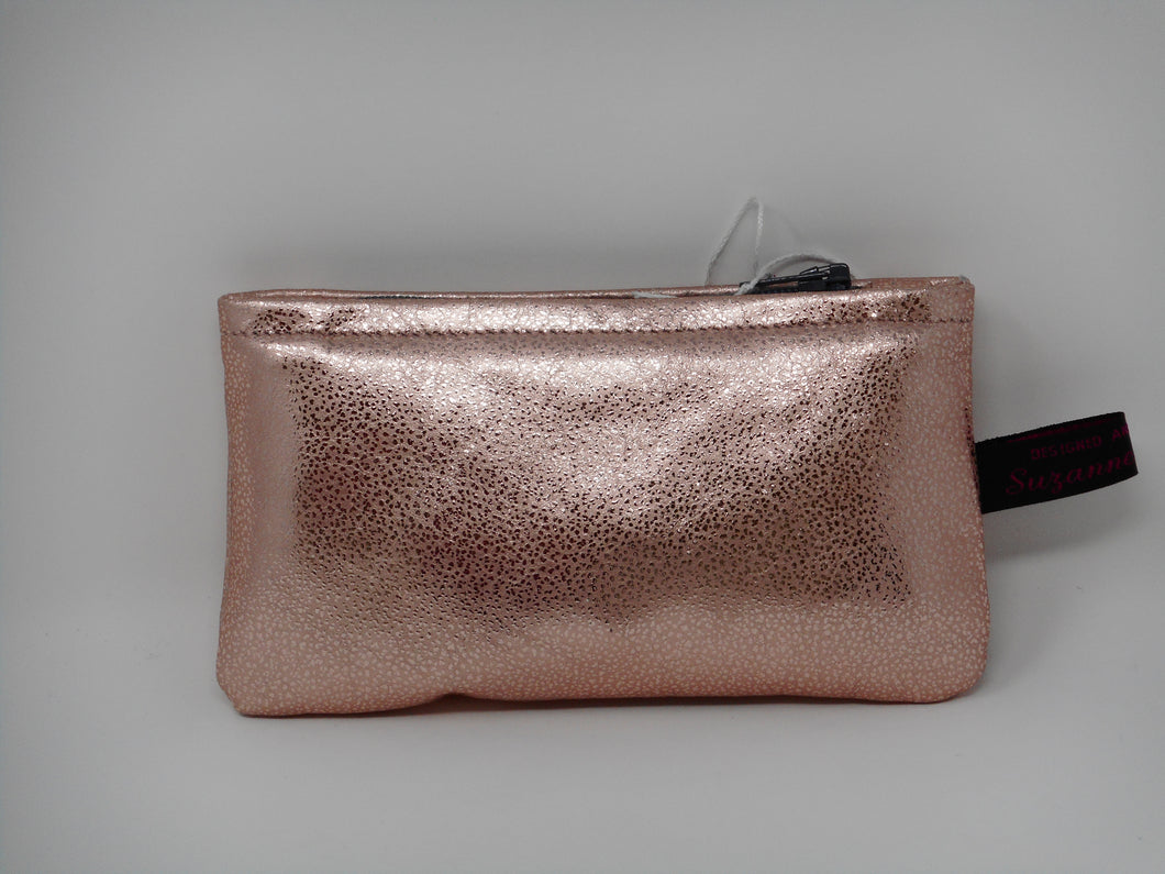 Foil leather zip purse in Tinsel Pink