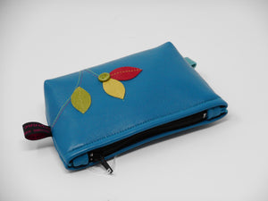 Lambs leather leaf embroidered purse in Turquoise