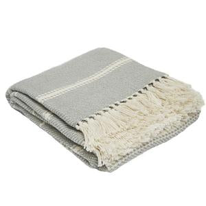 Oxford Stripe Blanket Dove Grey