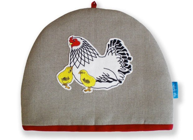 Linen Mother Hen & Chicks Tea Cosy