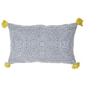 Kas Cushion 40x60cm Navy with Gooseberry Tassles