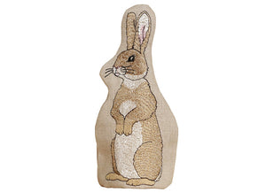 Linen Rabbit Egg Cosy - Brown Eared Side Facing