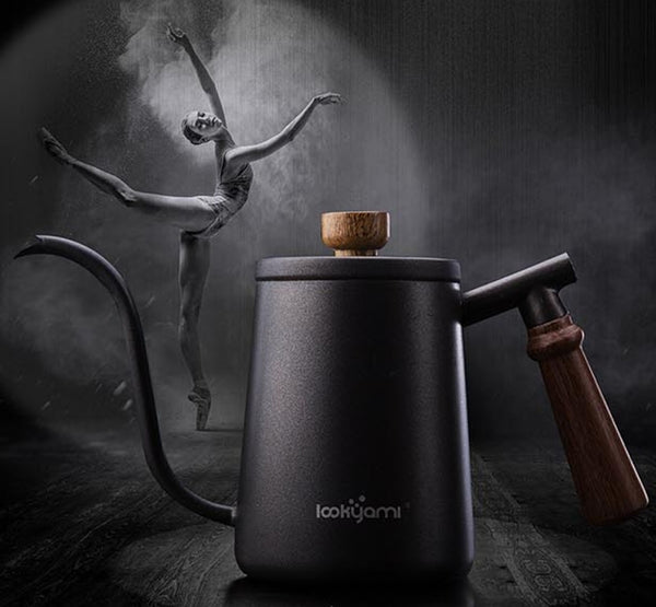 Swan hand pot 600ml Black Gold