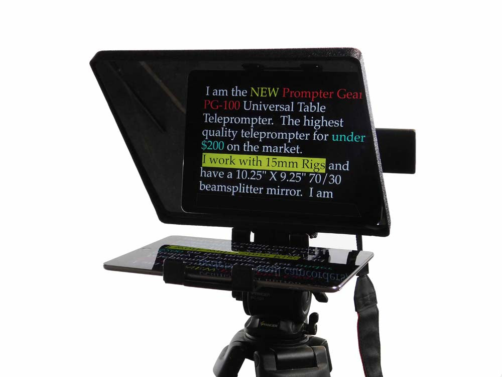 pg 100 universal tablet teleprompter from prompter gear