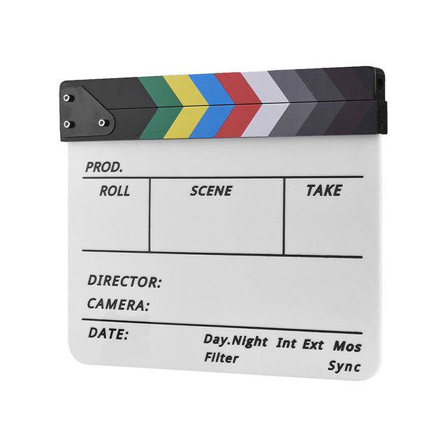 Film Shooting Accessory Director Video Acrylic Clapboard Dry Erase TV Movie Clapper Board Slate With Marker Pen Eraser 30*24.5cm