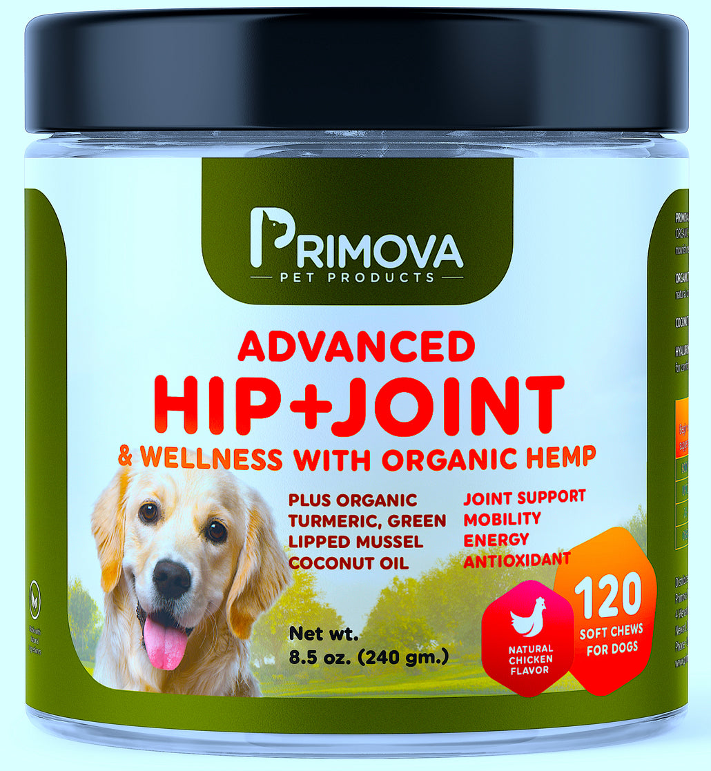 Advanced Hip+Joint & Wellness Soft Chews for Dogs with Organic Hemp