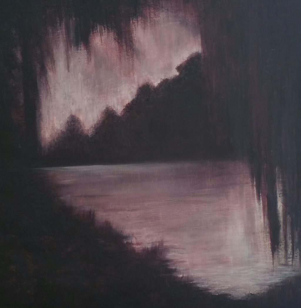A moody bayou scene, inspired by the landscape of Louisiana, mysterious and haunting.