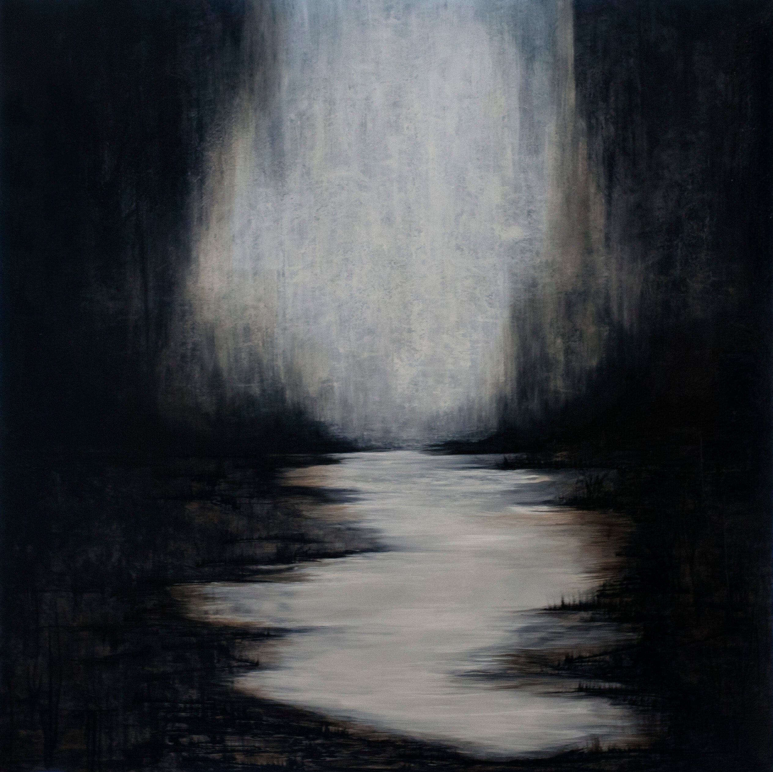 A moody and haunting depiction of a bayou at night, painted in a monochromatic palette. The scene is full of historic references, folktales and myths.