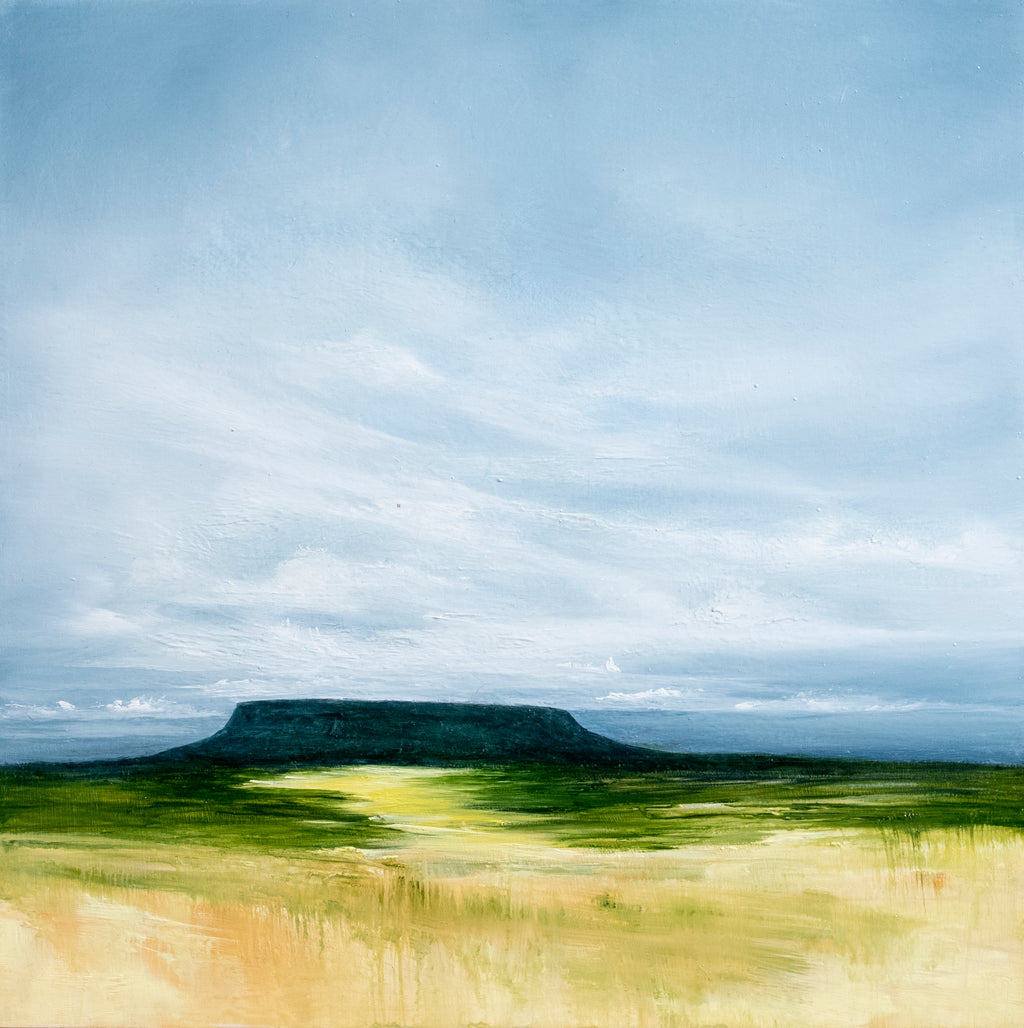 A majestic desert scene, inspired by the landscape of New Mexico, under a big sky we see a mesa in the far distance.